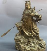 wang67111818197++15 Chinese Folk Brass Stand General Dragon Guan Gong Yu Warrior God Sculpture