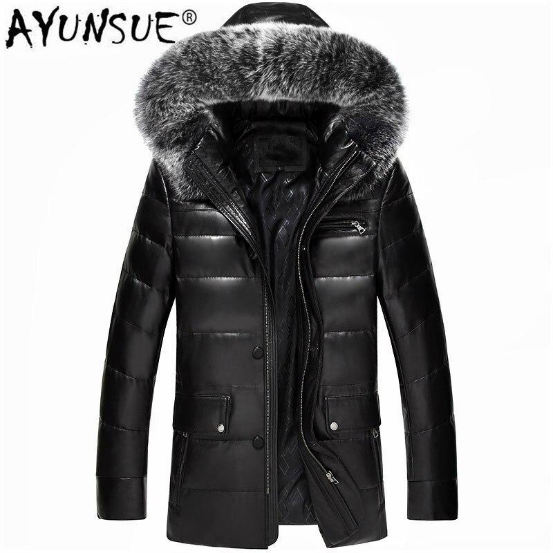 AYUNSUE hiver en cuir véritable manteau hommes en cuir vers le bas manteau fourrure de renard à capuche épais en cuir véritable peau de mouton manteau MC16C601 LWL1074