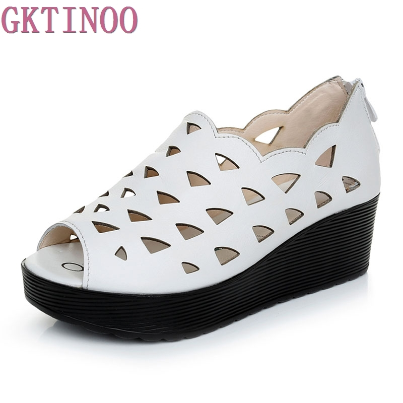 GKTINOO Summer Women Sandals Casual Peep Toe Genuine Leather Shoes Lady Platform Wedges Sandals Shoes Woman