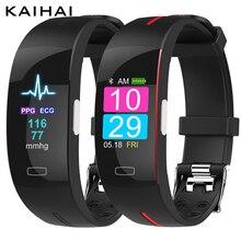 """KAIHAI H66 בתוספת לחץ דם מדידה להקת יד קצב לב צג PPG אק""""ג HRV חכם צמיד שעון כושר פעילות tracker בריאות לביש התקני צמיד שעון מעורר עבור אנדרואיד ios"""