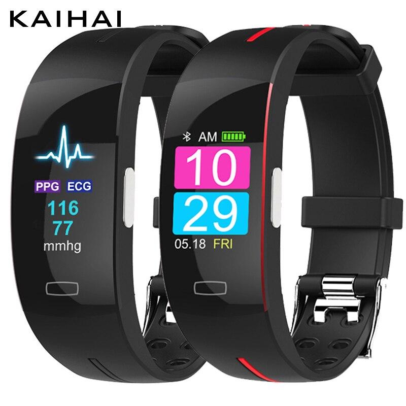 KAIHAI H66plus la presión arterial de la banda de muñeca monitor de ritmo cardíaco PPG ECG pulsera inteligente deporte reloj de actividad fitness pulsera