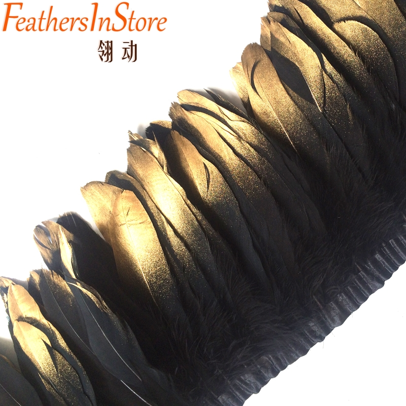 DIY craft 10meters Dyed Goose Feather Fringes Gold tipped painted Geese Duck Feather trims 13-18cm