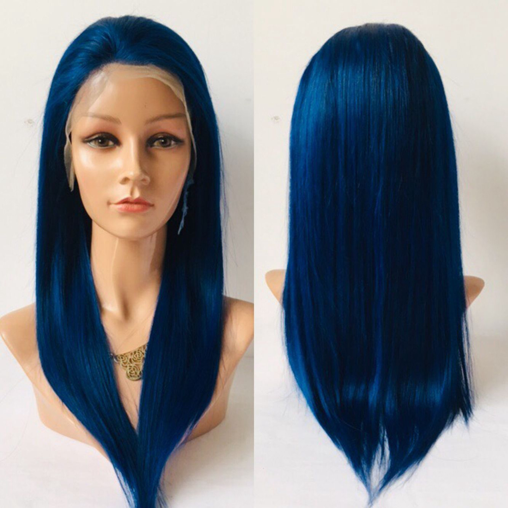 Eversilky Brazilian Remy Straight 360 Lace Frontal Wig Glueless Blue Wig Free Part Straight Hair Wig
