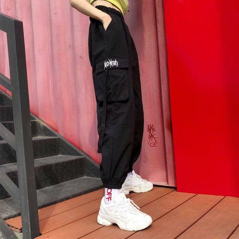 Women Hip Hop Cargo Pants Cargo Female Harem Pants Streetwear Casual Pants Black Summer Loose Harajuku Pants With Side Pockets