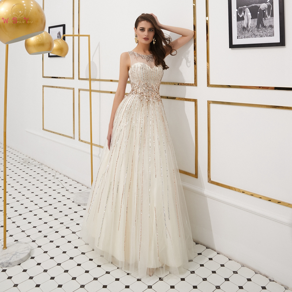 Tulle Graduation Prom Dresses 2019 Elegant Champagne Red Carpet Beaded Rhinestone Floor Length Evening Gowns Women African New