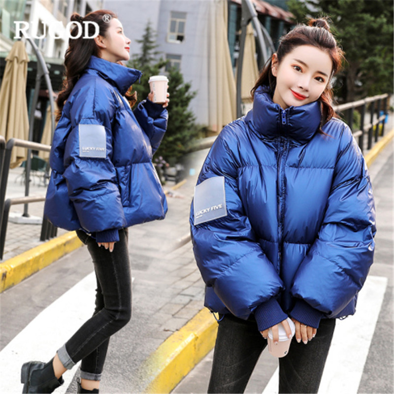 RUGOD New Elegant Winter Coats Women Thick Warm Cotton Padded Jacket   Parkas   Fashion Casual Solid Long Sleeve Short Coats Befree