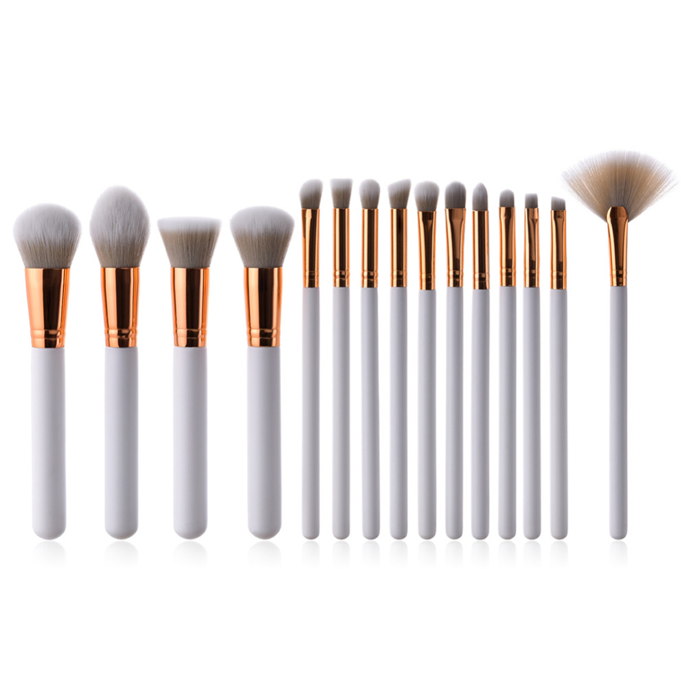 15pcs Makeup Brushes Set Powder Foundation Eyeshadow Cosmetics Soft Synthetic White Handle Makeup Brushes Beauty Concealer Tools