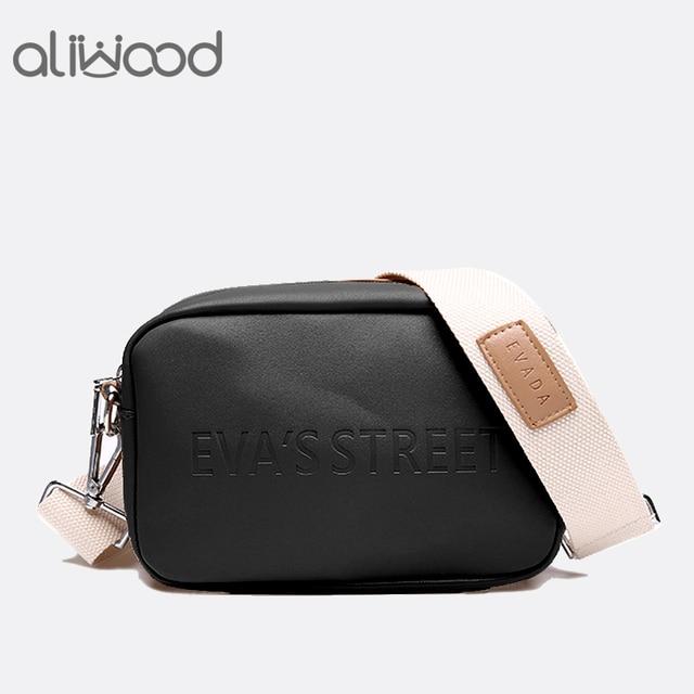 Aliwood Marca Designer saco De Couro Das Mulheres Senhoras Ombro Mensageiro Sacos Bolsa Aba Carta Simples Moda Mulheres Saco Crossbody