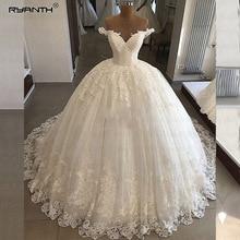 חלוק דה Mariee חתונת יוקרה שמלות 2019 כדור שמלה כבוי כתף תחרת כלה שמלות כלה Vestidos דה Noiva