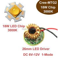 1pcs Cree XLamp MT G2 MTG2 18W 12V Warm White 3000K Flashlight Bulb Chip With 1