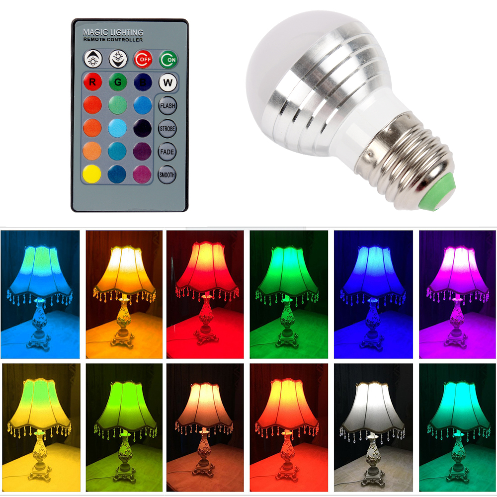 16 Colors E27 3W LED Lamp Home Decoration IR Remote Control Dimmable lighting RGB Bulb AC 85-265V agm rgb led bulb lamp night light 3w 10w e27 luminaria dimmer 16 colors changeable 24 keys remote for home holiday decoration