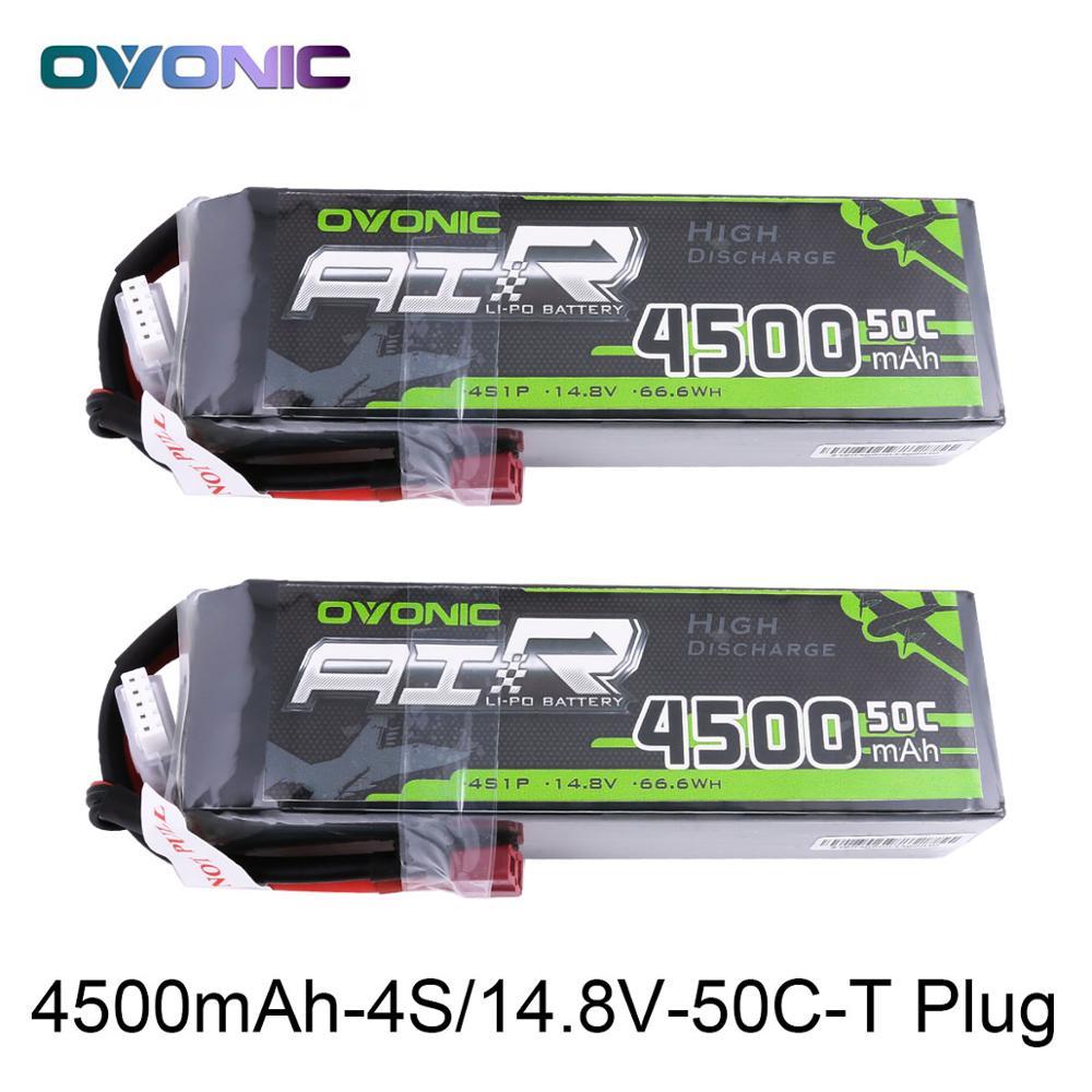 2X Ovonique LiPo Batterie 4500 mah 14.8 v LiPo 4S 50C-100C Batterie Pack T Connecteur XT60 Plug pour 1/8 1/10 RC Voiture Heli Quadapter 3D