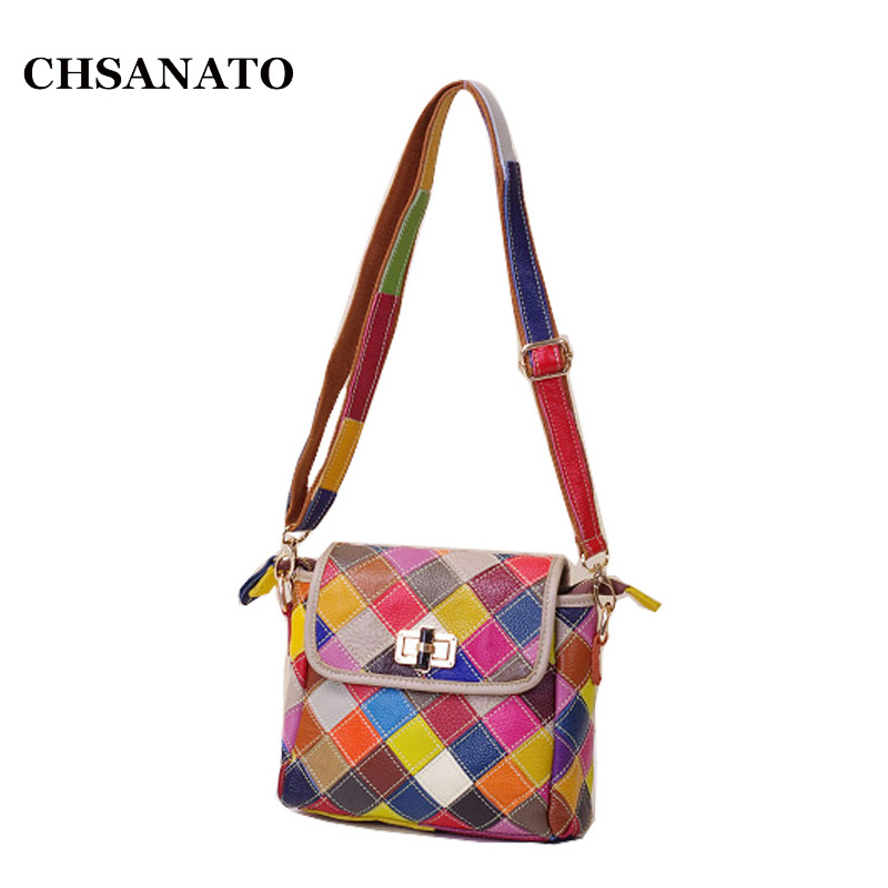 Genuine Leather Women's Shoulder Bag Fashion Patchwork Plaid Women Cross Body Bags Colorful Tote Lady Messenger Bag ламинат tarkett intermezzo дуб танго беж tc lock 33 класс