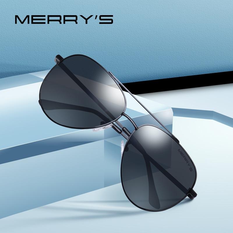 MERRYS diseño hombres clásico piloto gafas de sol de marco de gafas de sol polarizadas para hombres que conducen los UV400 protección S8138