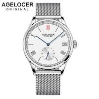 2019 AGELOCER Швейцарский известный бренд мужской часы Роскошные Мужские автоматические часы браслеты из нержавеющей стали золото уникальный ди