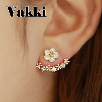 Lovely Special Small FLOWER Back Ear Nail Gold Defence Allergy Earrings Woman Ornaments Dropshipping image