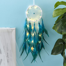 Indian girl  green feather dream catcher with lamp car pendant handwork pendant student birthday graduation gift wind bell indian six ring large dream catcher wind bell feather pendant home ornaments birthday gift shop dream bestie lover gift