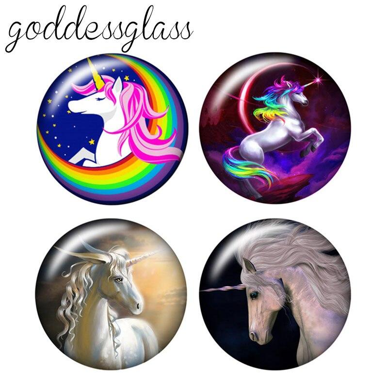 Fashion Beauty Pegasus Unicorn 10pcs 12mm/18mm/20mm/25mm Round Photo Glass Cabochon Demo Flat Back Making Findings ZB0461