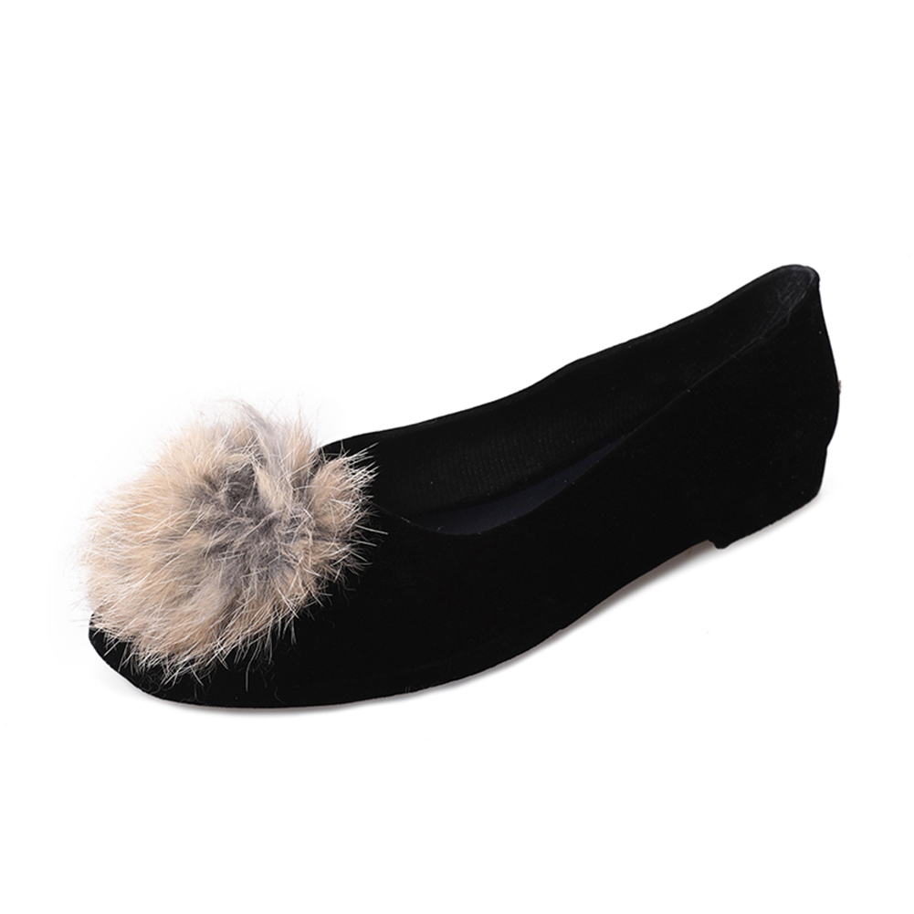 Pom Pom Round Toe Fake Fur Flats - Black 40