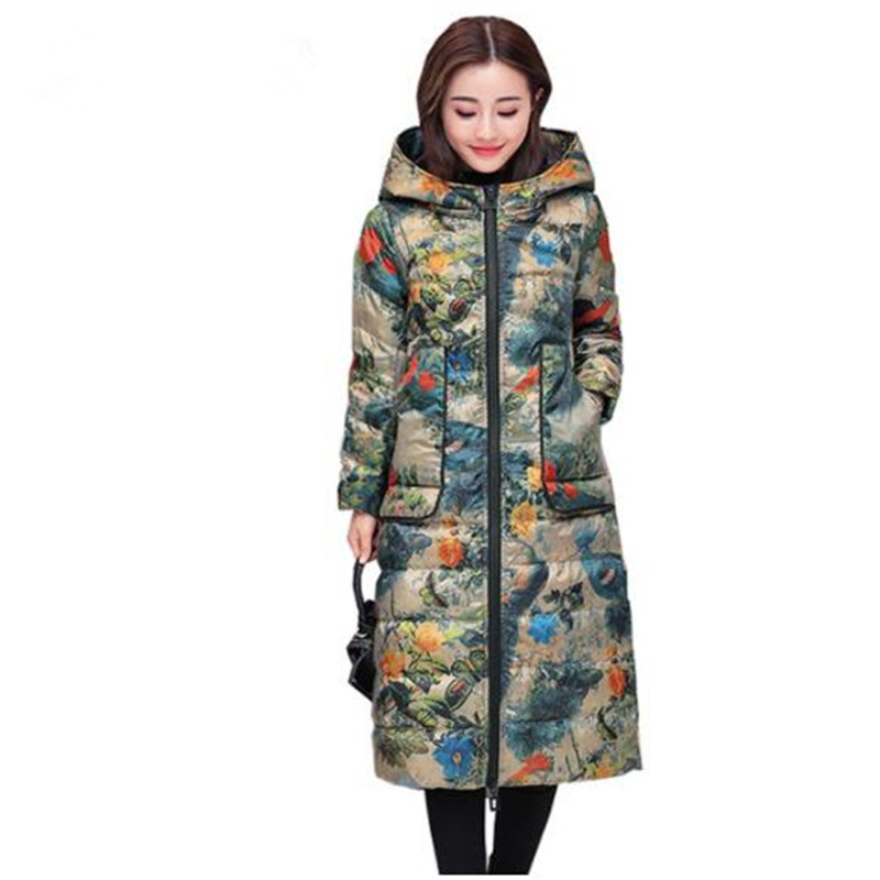 2018 Winter 80% White Duck   Down     Coat   Women Parka Fashion Hooded Print Long Outerwear Plus Size Slim Warm Ladies   Down   Jacket