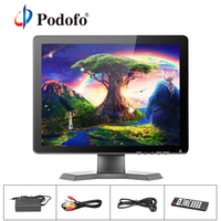 Podofo 15 IPS LCD HD Monitor TV & Computer Display 1080P 1024x768 Color Screen Camera Video Security CCTV DVD Monitor Speaker