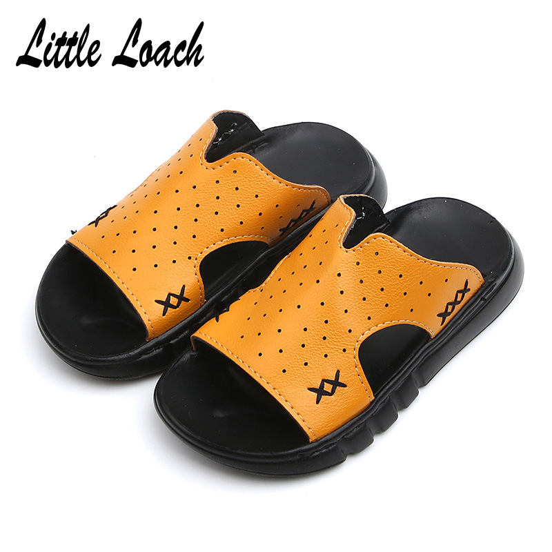 skate shoes new york fresh styles US $11.4 40% OFF|Boys Casual PU Leather Slippers Soft Sole Leisure Kids  Sandals Open Toe Slip resistant Flip Flops Baby Summer Beach Shoes Black-in  ...
