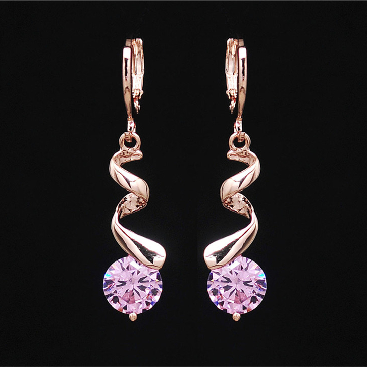 Fashion Pink Cubic Zirconia Dangle Earrings for Women Gold Color Screw Earrings Vintage Jewelry valentines day gift Bijoux
