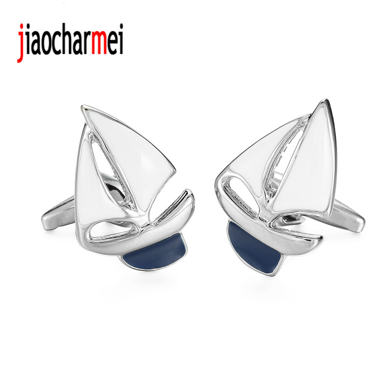 High Quality Men's Shirts Cufflinks New Fashion Boutique Brand Jewelry White Sailboat Cufflinks, French Shirt Accessories