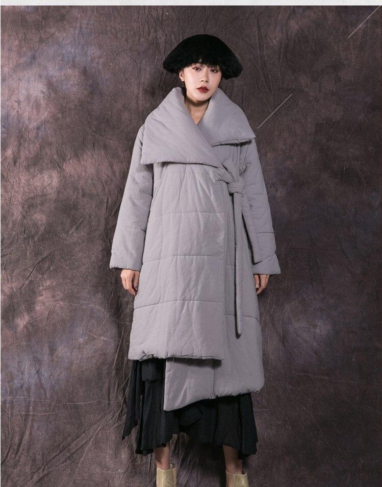 Veste Survêtement Coton Noir Mode Up De Femme Long Doudoune gris Hiver Femelle Parkas Manteau Lacet Épaissir Décontracté qXO4qwRz