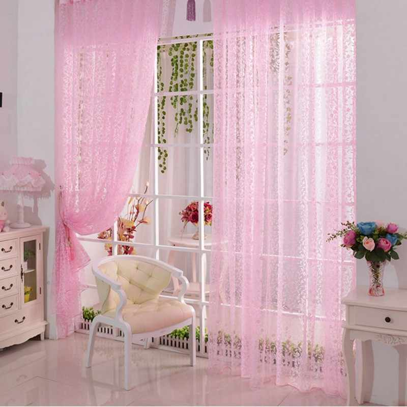 Classical China Style Floral Voile Drapes French Window Curtains Room Divider Sheer Scarfs Valance Blinds for Living Room