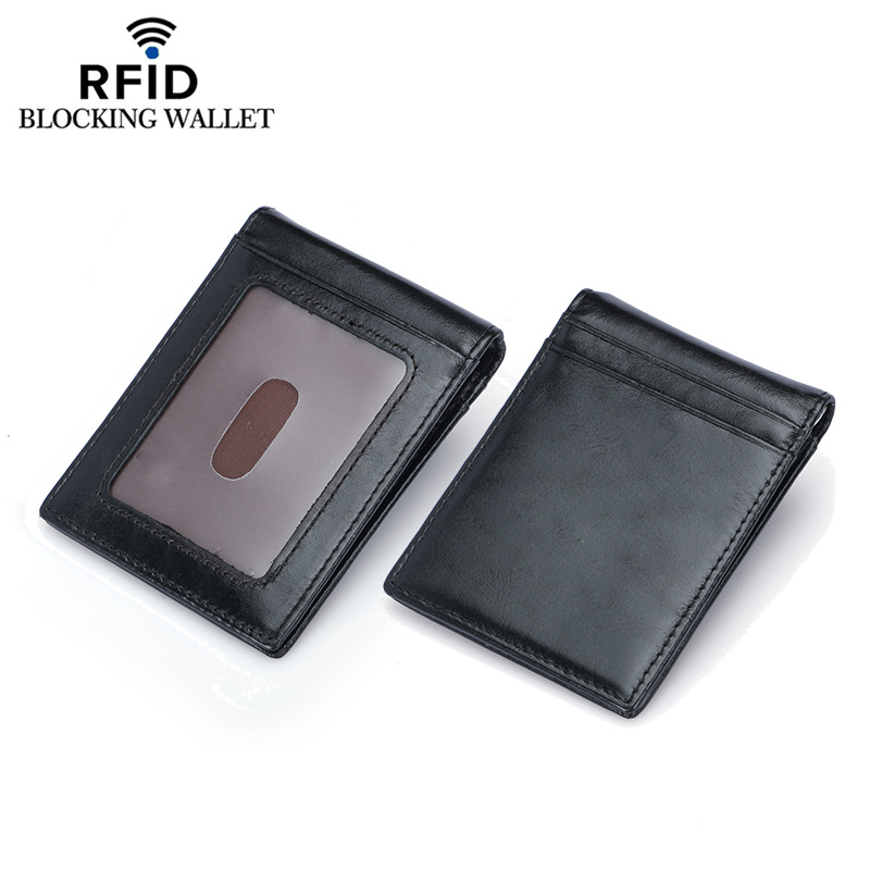 Weduoduo Top Quality Wallet Men Money Clip Mini Wallets Male Vintage Style Brown Black Purse Genunie Leather business wallet in Wallets from Luggage Bags