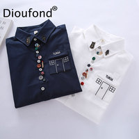 Dioufond Solid White Women Blouses 2017 Autumn Button Down Shirts Long Sleeve Turn Down Collar Shirt