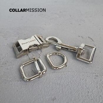 20sets/lot (metal buckle+adjust buckle+D ring+metal dog clasp/set) 20mm provide laser engraving service customize LOGO