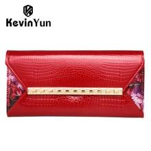 Kevin yun mode frauen mappen-lange designer handtasche weibliche kupplung lackleder geldbörse