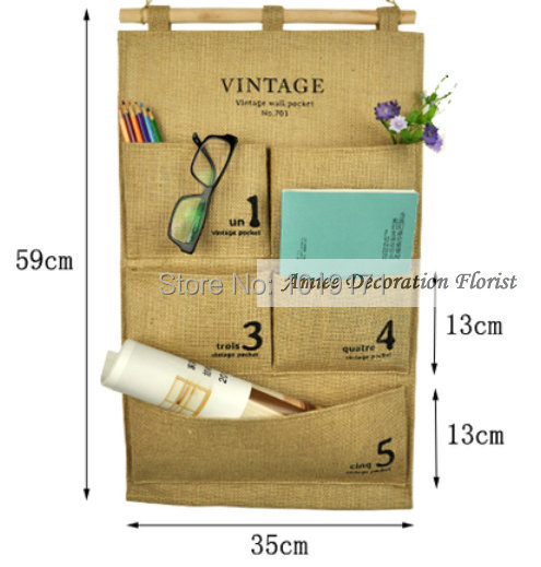 59 cm Hanging 5 Pocket Milan Wall Organizer Wooden Handle Wedding Home Garden Decor Artificial Flower Pot Bags F343