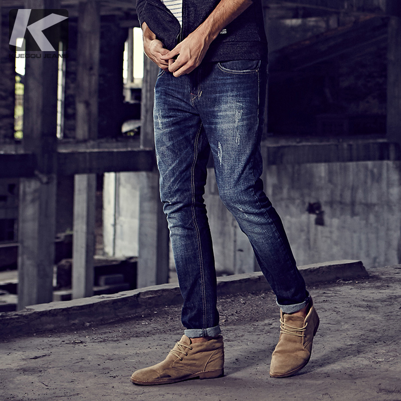 KUEGOU New Autumn Mens Fashion Denim Pants Blue Color Brand Clothing For Man's Skinny Straight Jeans Male Trousers 9396
