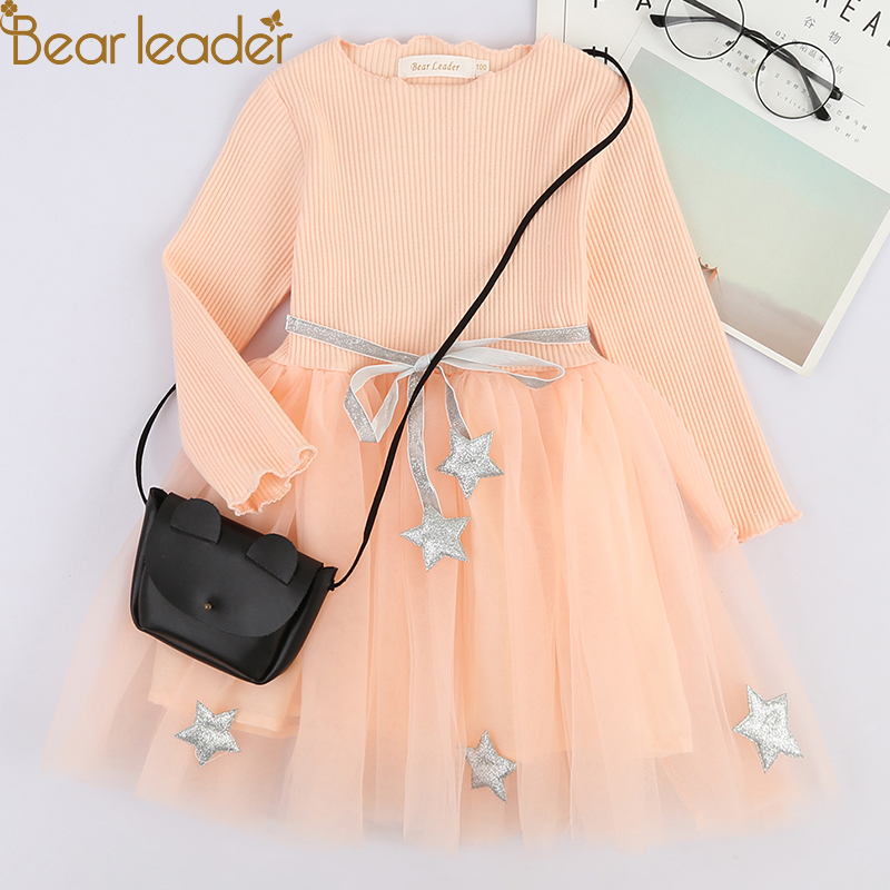 Bear Leader Girls Dress 2018 New Autumn Kids Clothes Långärmad O-Neck Striped Bunny Rabbit Appliques Design för tjejer Klänningar