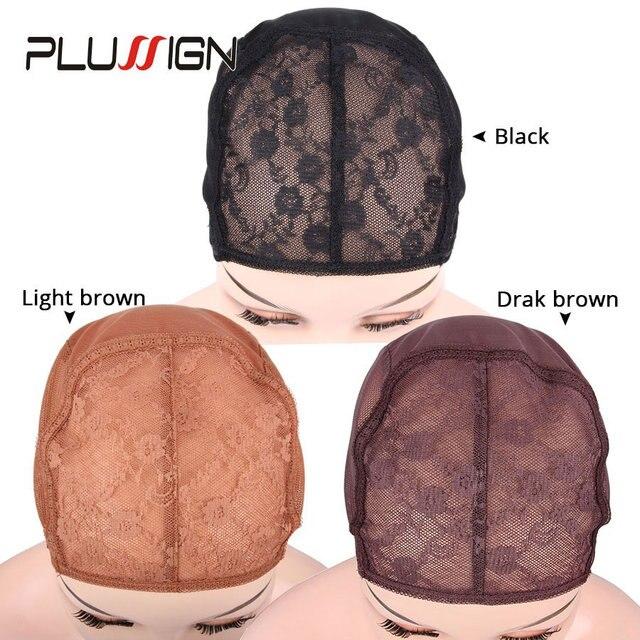 Регулируемые Сетки для париков, Стрейчевые сетки черного и коричневого цвета, швейцарские, размеры XL/L/M/S, 5 шт./лот
