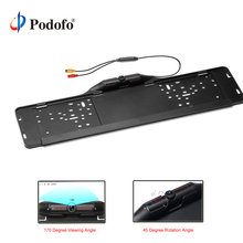 Podofo Waterproof European License Plate Frame Rear View Camera Auto Car Reverse Backup Parking Rearvie LED  Night Vision