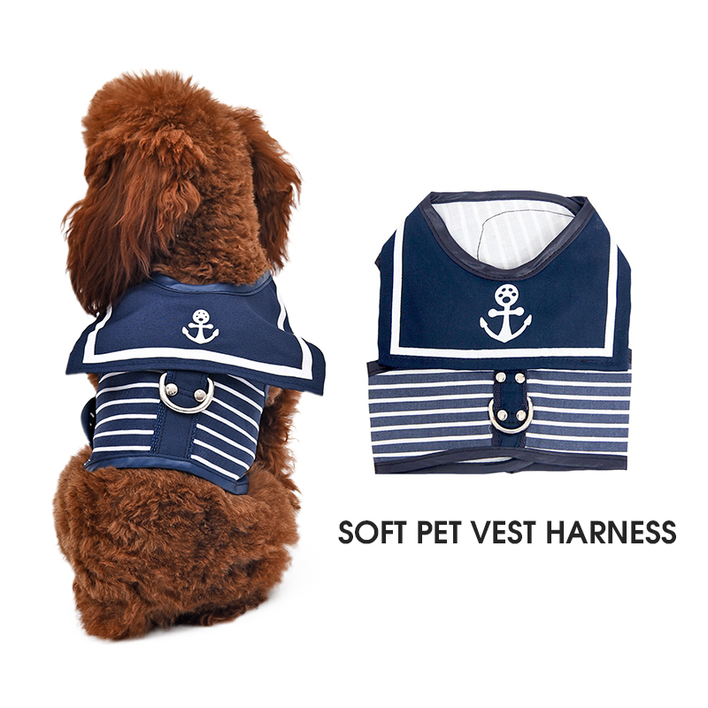 Retro Style Pet Dog Harness Katt Collar Kläder Navy Dog Vest Harness Leash Pothook Button Hundkläder Animal Supplies XS-XL
