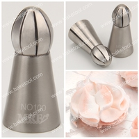 New stainless steel ball flower pastry nozzles, icing tips, seamless weld piping nozzles for cake decoration#NO100