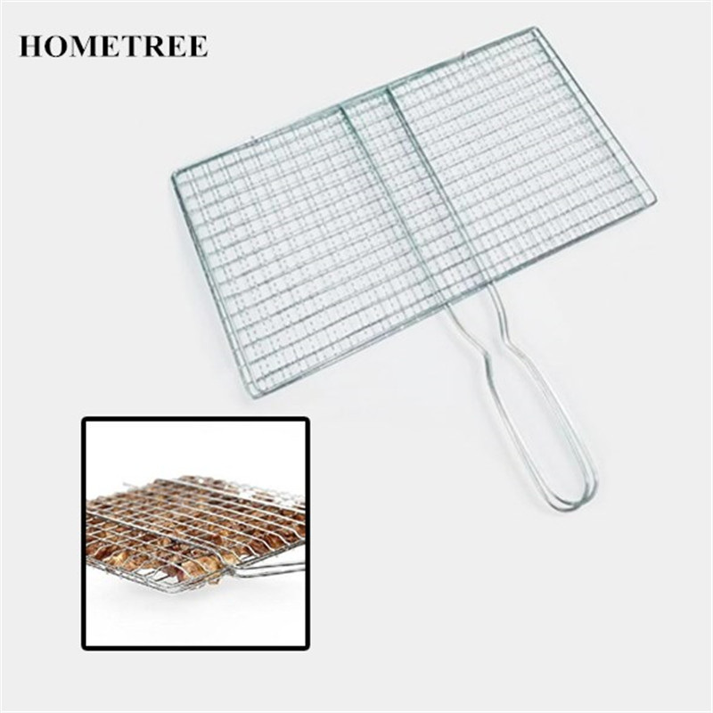 HOMETREE Handle BBQ Barbecue Tools Stainless Grilling Meshes Clip Meat Fish Vegetable Grill Net Tool For Outdoor BBQ Party H404