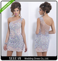 Crystal New Woman Dress Scoop High Quality Beading Vestido de festa Beaded Shinning Tulle A Line Short Sexy Prom Dresses SL-P265