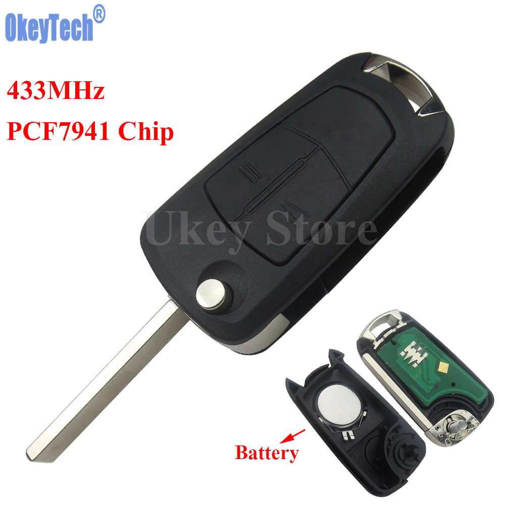 OkeyTech Car Flip Remote Key Fob 2 Button 433Mhz PCF7941 for Vauxhall Opel Astra H 2004 2005 2006 2007 2008 2009 Zafira B 2005-2