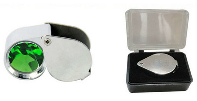 2pcs Portable 18mm Jewel Jewelry Magnifier Pocket Loupe Magnifying Glass 10x with a plastic box