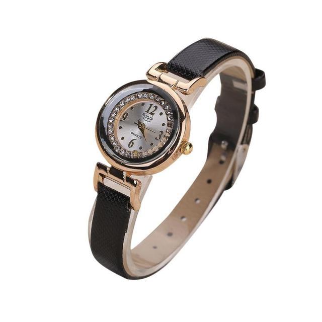 watch women luxury 2018 fashion Fine Leather Band Diamond Analog Quartz Movement