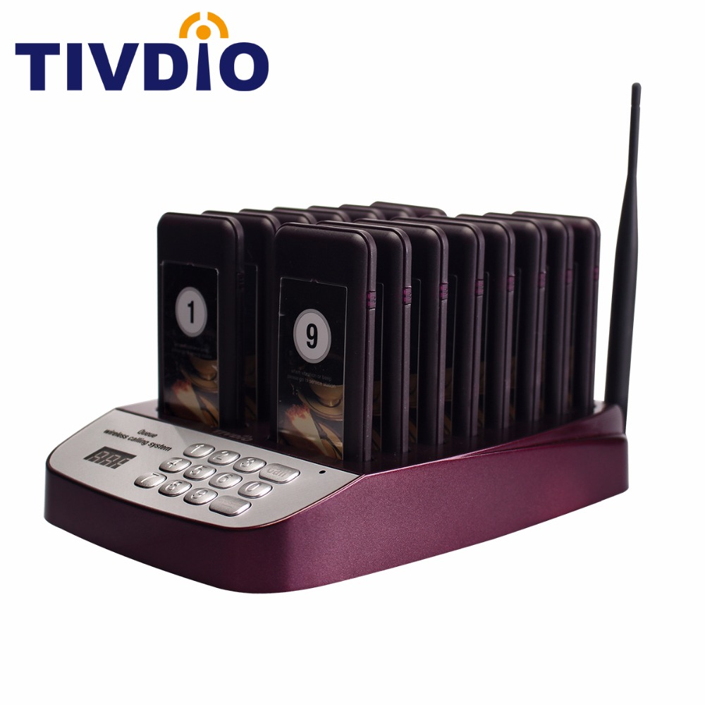 TIVDIO 16 Call Wireless Restaurant Pager Coaster Paging Queuing System With Rechargeable Battery Pager Calling System F9403 wireless pager system 433 92mhz wireless restaurant table buzzer with monitor and watch receiver 3 display 42 call button