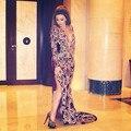 2015 de manga larga Fares árabe Myriam vestidos de noche dorado cuentas bordado raja del lado borgoña cuello en V profundo