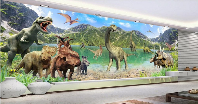 3d Room Wallpaper Custom Mural Non Woven Wall Sticker The Huge Giant Dinosaur World
