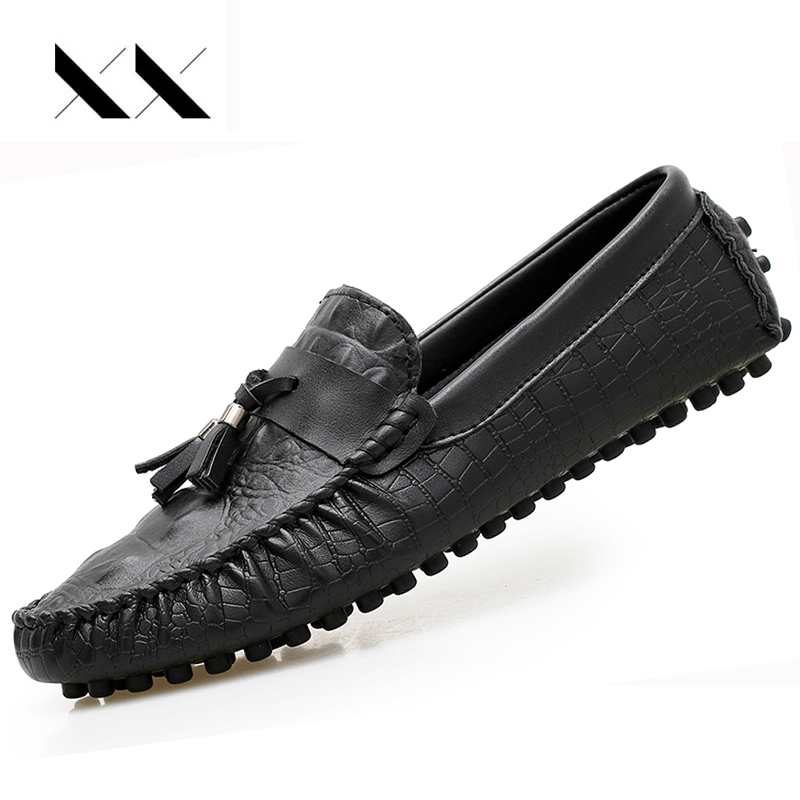 XX Breathable Men Casual Soft Leather Shoes Car Driving Slip-on Flats Leisure Fashion Tassel Moccasins Men Loafers Zapatillas branded men s penny loafes casual men s full grain leather emboss crocodile boat shoes slip on breathable moccasin driving shoes
